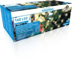Donkergroene Grundig netverlichting - warm wit helder - 160 LED's - outdoor - ca. 650cm