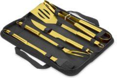 MikaMax Millionaire BBQ Tools – BBQ Gereedschapset - Gouden Barbecue Accessories Set - BBQ Accesoires - 5-delig BBQ Gereedschap