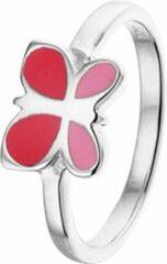 Rode Yep! Ring Vlinder - Zilver