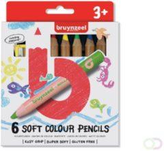Kleurpotlood Bruynzeel Kids dik wasco blister à 6 stuks assorti