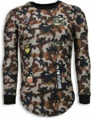 Justing 23th US Army Camouflage Shirt - Long Fit Sweater - Bruin Heren Sweater M