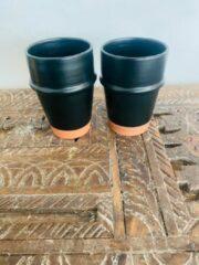Zwarte Moroccan Garden Set van 2 | Handgemaakte Moderne Beldi Mok | Terracotta | Marokkaanse Koffie Mok