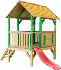 Bruine Axi Akela Speelhuis met veranda en glijbaan / Safari / FSC 100% cederhout / 58cm hoog platform / 91 x 287 x 231 cm / Prefab panelen / 5 jaar garantie!