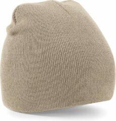 Beechfield Warme gebreide Beanie wintermuts in het beige voor volwassenen - Damesmutsen / herenmutsen - 100% polyacryl - Basic line