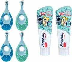 Jordan Step-By-Step 1 - 4x Tandenborstel (0-2 jaar) met 2x Prodent Woezel & pip Tandpasta Blauw