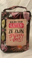 Roze History&heraldy Shopper bag dames met leuke tekst IK HOU VAN KATTEN ZE ZIJN PURRRFECT! winkeltasje Wordt geleverd in cellofaan met linten