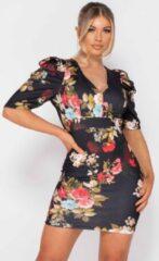 Parisian Floral Print Puffed - Bodycon Mini Dress - Dames - Zwart Dames Jurk One Size