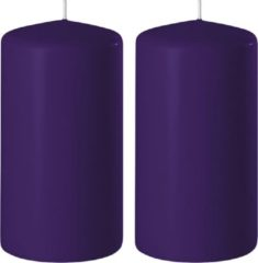 Groene Enlightening Candles 2x Paarse cilinderkaarsen/stompkaarsen 6 x 15 cm 58 branduren - Geurloze kaarsen paars - Woondecoraties