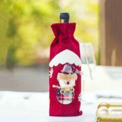 Rode SourceConnect Cadeauverpakking Wijnfles Kerst | Wijnfleshoes Sneeuwpop | Wijnfleshouder Kerstdecoratie | Wijnfles Decoratie