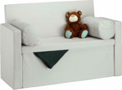 Creme witte Relaxdays zitbank met leuning - 2 kussens - zitkist opvouwbaar - gepolsterd - opbergruimte crème