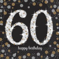 Grijze Amscan Servetten - 60 happy birthday - sparkling 16 stuks