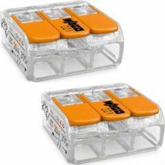 Quano WAGO - Lasklem Set 2 Stuks - 3 Polig met Klemmetjes - Oranje