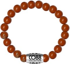 CO88 Collection Elemental 8CB 17016 Rekarmband met Stalen Element - Jaspis Natuursteen 6 mm - One-size - Rood