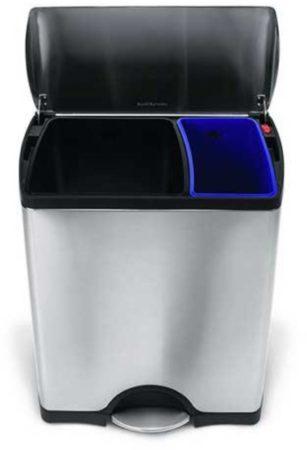 Afbeelding van SimpleHuman Rectangular classic GFT pedaalemmer 30 + 16 liter - zilverkleurig