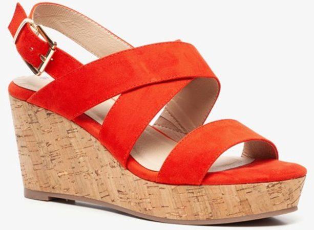 Afbeelding van Blue Box dames sleehak sandalen - Oranje - Maat 40
