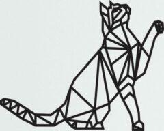 Zwarte ByKemme Muur Decoratie - Wand Decoratie - Huiskamer – Housewarming - Geometrisch - 45cm breed x 32cm hoog - Wall Art - Dieren - Kat - Poes – Geometrische Kat