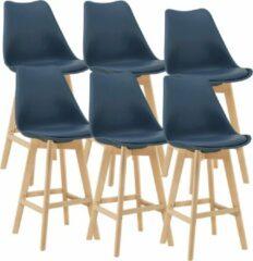 En.casa Barkruk set van 6 kunstleer en beuken 105x48x58 cm blauw