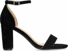 Manfield - Dames - Zwarte suède sandalen met hak - Maat 39
