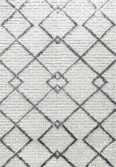 Grijze Pisa Modern Design Vloerkleed Laagpolig Creme - 160x230 CM
