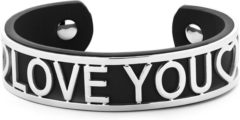 Zwarte Key Moments 8KM-B00478 - Stalen open bangle met tekst - ♡♡ love you ♡♡ - one-size - zwart