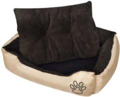 Bruine VidaXL Hondenbed met gewatteerd kussen XL