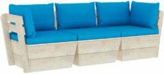 Blauwe VidaXL Tuinbank 3-zits met kussens pallet vurenhout