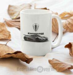 Witte Kimano Mok Koenigsegg - afbeelding auto en logo