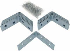 Zilveren Ben Tools 12x stuks hoekankers / stoelhoeken inclusief schroeven - 40 x 40 x 15 mm - metaal - hoekverbinders
