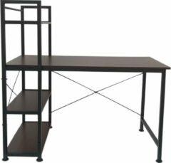 VDD Industrial Vintage Design Bureau computertafel Stoer - 3 opbergplanken - industrieel vintage bruin - metaal hout