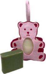 La Maison du Savon de  Marseille Cadeaupakketje zeepzakje beertje roze met 2x 30 gram zeepjes karite en huile d'olive
