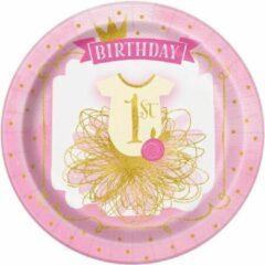 Roze Haza Original Feestborden Eerste Verjaardag Meisje 23 Cm 8 Stuks