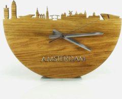 Bruine WoodWideCities Skyline Klok Amsterdam Eikenhout - Ø 40 cm - Woondecoratie - Wand decoratie woonkamer