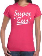 Shoppartners Super zus t-shirt roze voor dames - fuchsia roze super zus cadeaushirt - kado shirt voor zusjes 2XL