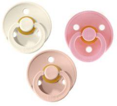 Roze Bibs Fopspeen 3 stuks 6-18 maanden | Maat 2 | Ivory Crème White, Blush, Baby Pink + Gratis speenzakje