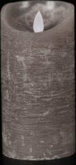 Anna's Collection 4 stuks Batterijverlichting kaars wax rustiek bewegende vlam 7,5x15cm grijs 3xaaa/timer