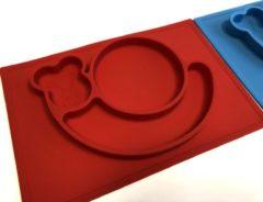 TOOBS Handige siliconen bordjes met slakken design 2 stuks | Kinderservies |Babybordje | Kinderbordje | Blauw en Rood | BPA vrij bord