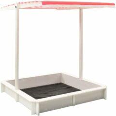 VidaXL Zandbak met verstelbaar dak UV50 vurenhout wit en rood