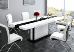 Witte Hubertus Meble Uitschuifbare Eettafel Pianosa 160cm tot 260cm - Hoogglans Wit met Zwart