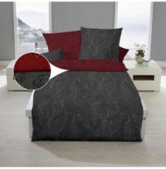 Mako-Satin Bettwäsche Texture rubin Bettwaren-Shop rubin