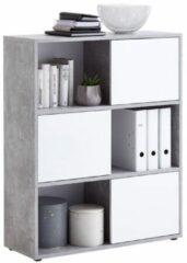 FD Furniture Boekenkast Ruta 110 cm hoog in grijs beton met hoogglans wit