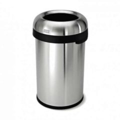 Zilveren SimpleHuman Afvalemmer Bullet Open Top Can 80 liter