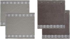 Grijze DDDDD Keukendoeken En Theedoeken Set Lace Grey (2+2 stuks)