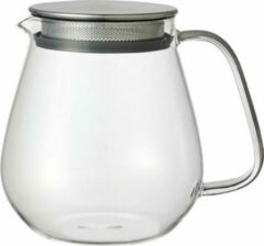 Transparante Kinto Unitea One Touch theepot | 720ml | glas | rvs filter | losse thee