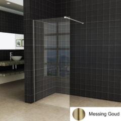 Boss & Wessing BWS Inloopdouche Pro Line Helder Glas 100x200 Geborsteld Messing Goud Profiel en Stang