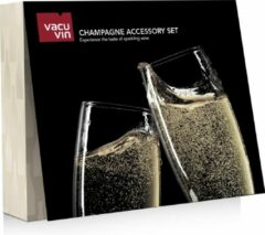 Zwarte Vacu Vin Champagne Accessory champagneset 3-delig