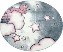 Kids Laagpolig Vloerkleed - Teddybeer - Rechthoek - Roze - 80 x 150 cm - Vintage, Patchwork, Scandinavisch & meer stijlen vind je op WoonQ.nl
