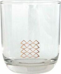 Transparante TAK Design Drinkglas Pattern Laag - Glas - Ø7,8 x 8,8 cm - Koper