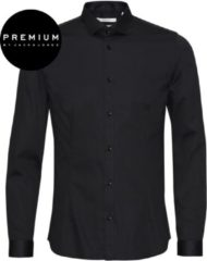 Jack & Jones Jack and Jones Premium Heren Overhemd Parma Zwart Satijn Super Slim Fit - XS
