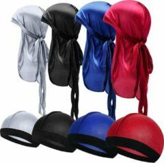 Rode Zinaps deluxe Durag - Deluxe Silky Durag Caps Elastic Wave Cap Lange Staart Headwraps Brede Drager Golven Verpakking van 8 - l