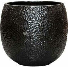 Ter Steege Pot Marly Black ronde zwarte bloempot voor binnen en buiten 54x48 cm